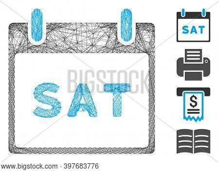 Vector Wire Frame Saturday Calendar Page. Geometric Linear Frame 2d Network Made From Saturday Calen