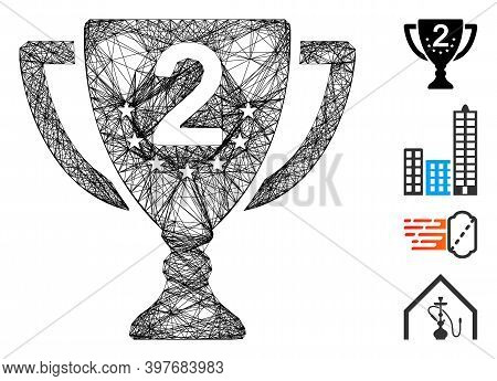 Vector Network Second Place. Geometric Linear Carcass 2d Network Generated With Second Place Icon, D