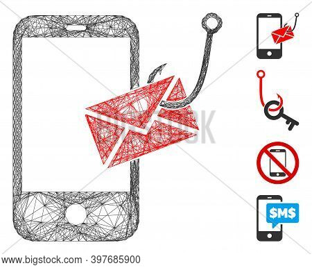 Vector Wire Frame Smartphone Message Phishing. Geometric Wire Frame 2d Net Generated With Smartphone