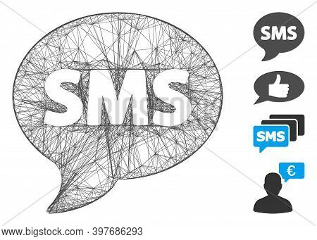 Vector Wire Frame Sms. Geometric Wire Frame Flat Net Made From Sms Icon, Designed From Intersected L