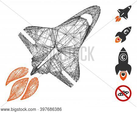 Vector Net Space Shuttle. Geometric Linear Carcass 2d Net Based On Space Shuttle Icon, Designed With