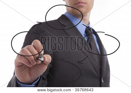 Young Business Man Drawing Graph
