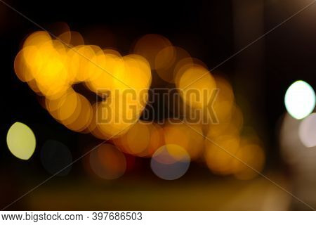 Cty Night Light Bokeh And Light Blurred Background