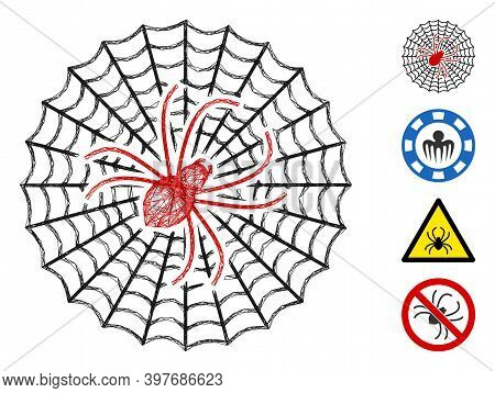 Vector Net Spider Net. Geometric Linear Carcass 2d Net Made From Spider Net Icon, Designed From Cros