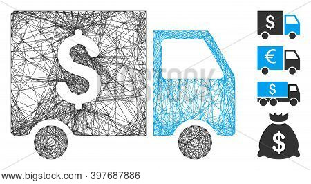 Vector Net Tax Collector Car. Geometric Wire Carcass 2d Net Generated With Tax Collector Car Icon, D