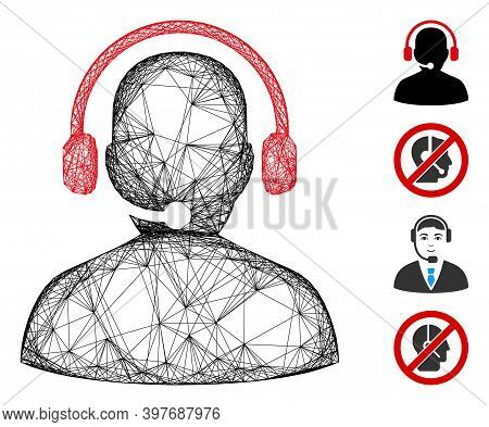 Vector Wire Frame Telemarketing. Geometric Wire Frame Flat Net Generated With Telemarketing Icon, De