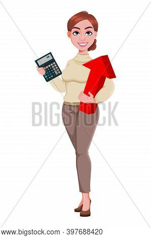 Stock Vector. Young Beautiful Business Woman Holding Calculator And Red Arrow. Pretty Businesswoman