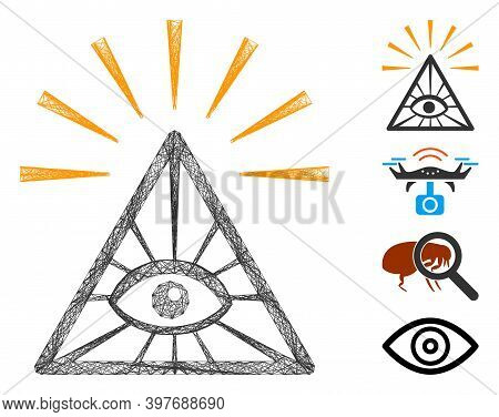 Vector Wire Frame Total Control Eye Pyramid. Geometric Wire Frame Flat Net Made From Total Control E