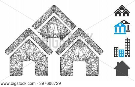 Vector Wire Frame Town Buildings. Geometric Wire Frame 2d Network Made From Town Buildings Icon, Des