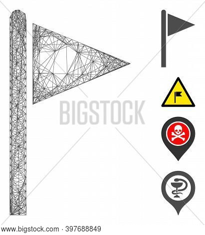 Vector Wire Frame Triangle Flag Pointer. Geometric Hatched Frame Flat Net Generated With Triangle Fl