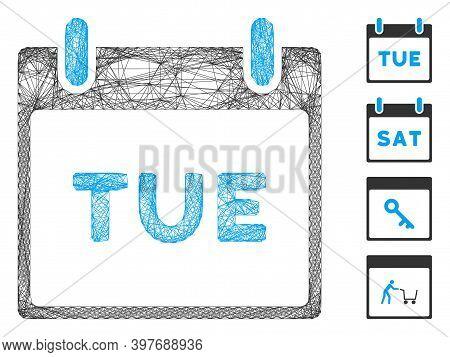 Vector Network Tuesday Calendar Page. Geometric Linear Carcass 2d Network Made From Tuesday Calendar