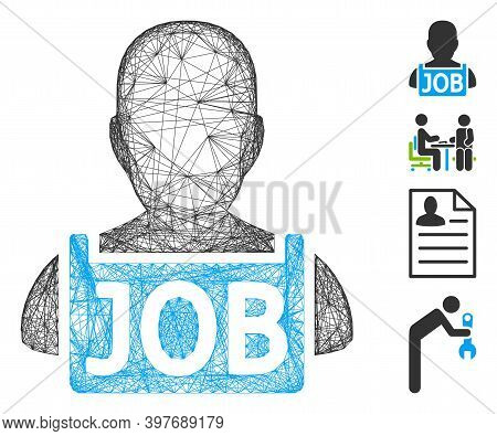 Vector Wire Frame Unemployed. Geometric Wire Frame 2d Net Made From Unemployed Icon, Designed With I