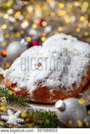 Christmas Stollen.traditional Sweet Fruit Cake With Icing Sugar. Winter Festive Concept.