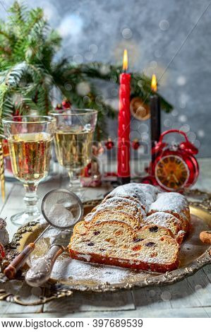 Dresden Christmas Stollen With Raisins, Dried Apricots, Dried Cherries, Nuts And Candied Fruits In S