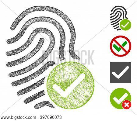 Vector Net Valid Fingerprint. Geometric Wire Frame 2d Net Made From Valid Fingerprint Icon, Designed