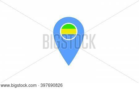 Gabon Location Pin National Flag Vector Illustration