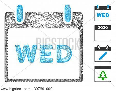 Vector Net Wednesday Calendar Page. Geometric Hatched Carcass 2d Net Made From Wednesday Calendar Pa