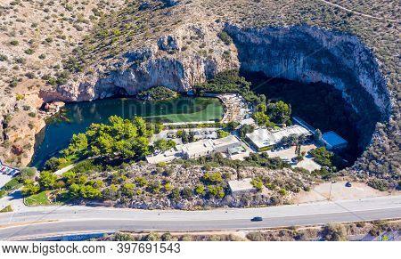 Vouliagmeni Lake Heath Spa, Aerial Drone View, Athens Greece.