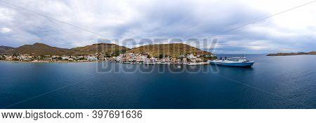 Panoramic View Of Kea, Tzia Island, Cyclades, Greece. Moored Ships At Island Port