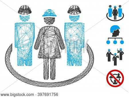 Vector Wire Frame Worker Social Relations. Geometric Wire Frame Flat Network Made From Worker Social