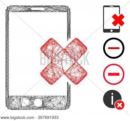 Vector Wire Frame Wrong Smartphone. Geometric Wire Frame Flat Network Made From Wrong Smartphone Ico