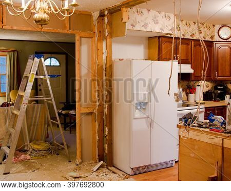 A Diy Kitchen Remodel Project In The Middle Of Demolition
