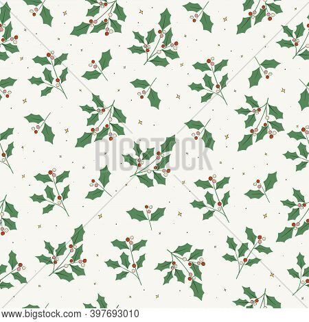 Vector Christmas Holly Tree Leaf And Red Berry Motif Seamless Repeat Pattern