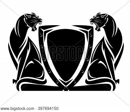 Two Roaring Panthers And Heraldic Shield - Security Concept Black And White Vector Design