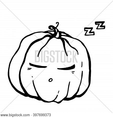 Lineart Vector Pumpkin Sleeps And Snores Sweetly After A Fun Halloween Celebration.