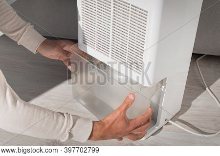 Man Changing Water Container In Air Dryer, Dehumidifier, Humidity Indicator. Humid Air At Home.