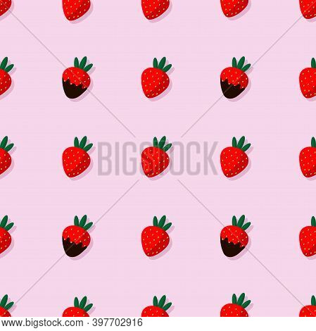 Seamless Pattern With Chocolate-covered Strawberries On A Pink Background. Sweet Strawberries For Va