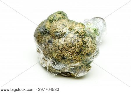 A Picture Of A Rotten Broccoli Packed In The Plastic Foil. The Foil Is Useless, It Only Damages The