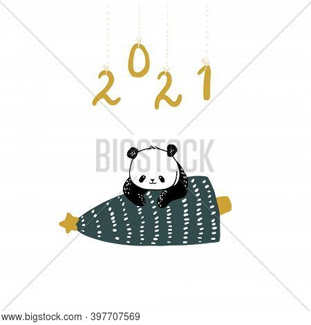 Greeting Card. A Cute Panda Carries A Christmas Tree. Inscription 2021. Vector Illustration On White