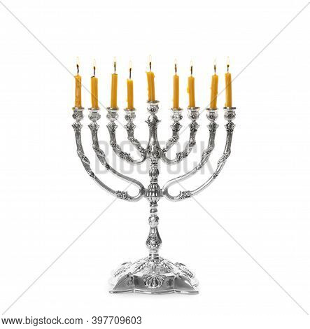 Silver Menorah With Burning Candles On White Background. Hanukkah Celebration