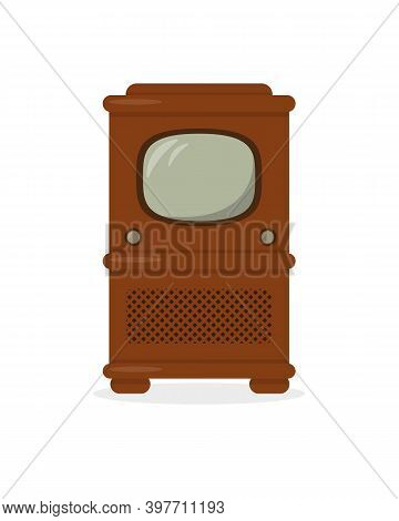 Vintage Television Isolated On White Background. Retro Tv Vector Icon Illustration.