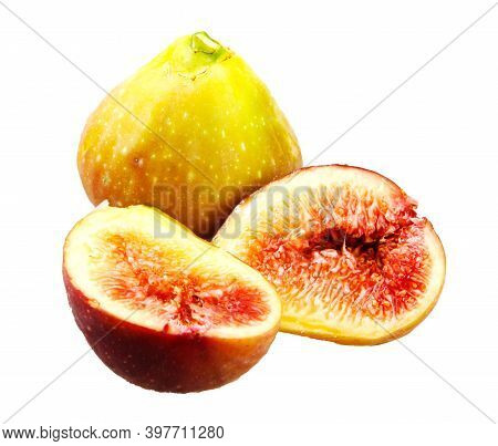 Common Fig On White Background. Ficus Carica Is An Asian Species Of Flowering Plant In The Mulberry
