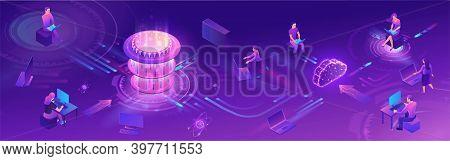 Quantum Computer Horizontal Banner, Futuristic Processor, Chip With Network, Isometric Vector Illust