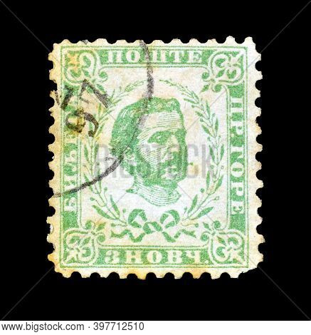 Montenegro - Circa 1898 : Cancelled Postage Stamp Printed By Montenegro,that Shows Prince Nicholas I