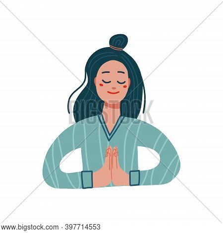 Girl In A Namaste Pose. Vector Flat Illustration On A White Background. Young Woman Giving Thanks. T