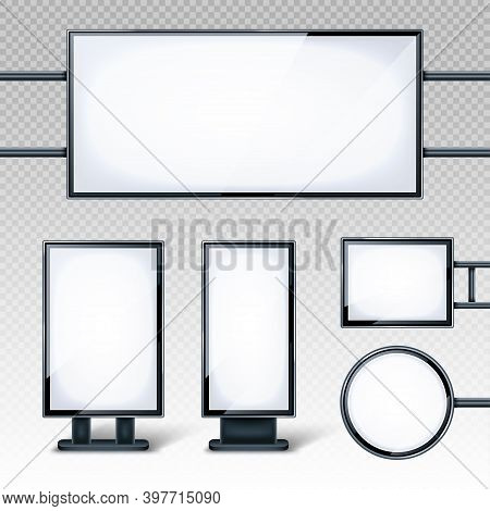 Blank Billboards Displays, Empty White Lcd Screens Or Stands For Advertising. Horizontal, Vertical,