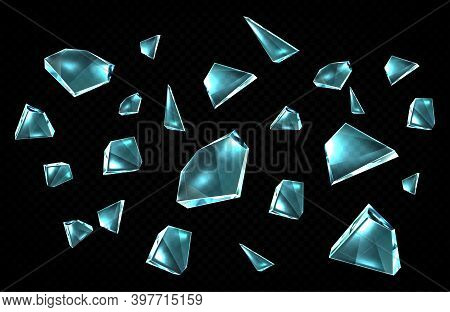 Broken Glass Shards Isolated On Black Background, Randomly Scattered Shattered Pieces Of Crashed Win
