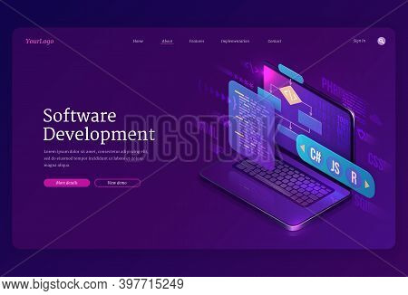 Software Development Isometric Landing Page. Website Or Program Coding Cross Platform, Algorithm Pro