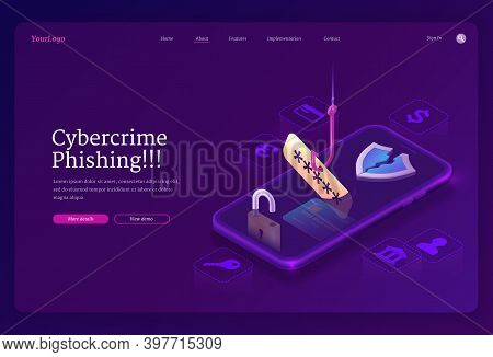 Phishing Cybercrime Isometric Landing Page. Fishing Hook Catch Account Password From Smartphone Scre
