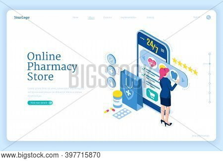 Online Pharmacy Store Banner. Mobile Drugstore Service. Vector Landing Page With Isometric Woman And