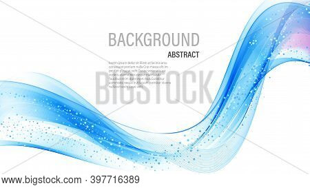 Smooth Abstract Border Wave Soft Glitters Background Modern Futuristic Cool Layout. Vector Illustrat