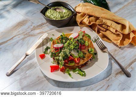 Mexican Sirloin Tip Steak Carne Asada Mulitas Quesadillas With Creme Fraiche Poblano Pepper Verde Sa