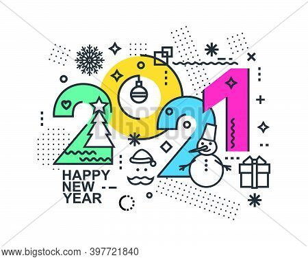 2021 Happy New Year Trendy And Minimalistic Card Or Background.