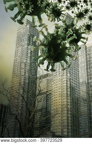 Tall Buildings With Coronavirus Raining Down From The Sky Like An Alien Invasion