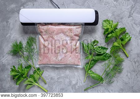 Marinating Meat Using Technology Sous Vide In A Vacuum Bag. Bbq Meat. Flat Lay. Top View.