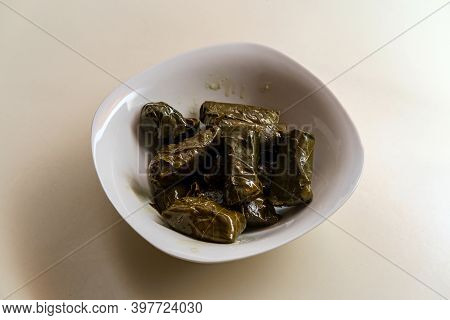 Armenian Yaprak Dolma, Stuffed Grape Leaves Appetizer